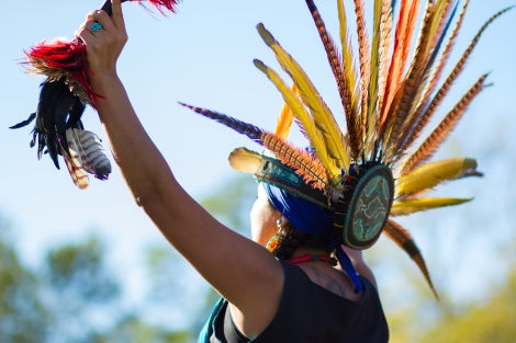 RANDALL'S ISLAND ISLAND, MANHATTEN - October 10, 2016:  An Aztec dancer performs at Monday's Indigenous Peoples Day Celebration.