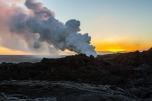 KALAPANA, HI - Kilauea Volcano erupting and pumping out steam and smoke