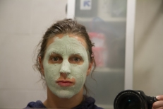 FLATBUSH, BROOKLYN - January 25, 2017: Treating my allergic reaction with a soothing clay mask.