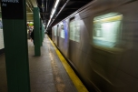 BROOKLYN - January 26, 2017: A train pulls out of Newkirk Avenue Station in Brooklyn.