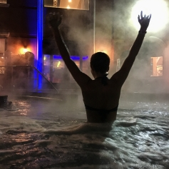 QUEENS - February 4, 2017: enyoing the hot tubs at Spa Castle on a cold winter night.