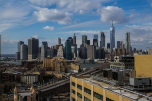 BROOKLYN - February 1, 2017: We recently discovered this epic view of the Manhattan skyline from the roof of our office at WeWork DUMBO Heights.
