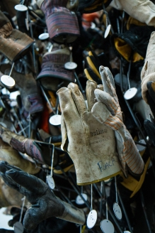 Sanitation worker's gloves as part of Mierle Laderman Ukele's Touch Sanitation project. Ukeles shook the hand of all NYC's sanitation workers - more than 8,500. The project took 11 months.