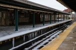 Metts Willis subway station covered in ice after the snowstorm.
