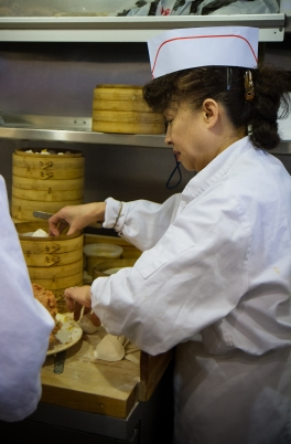 A chef makes dumplings at Nan Xiang Xiao Long Bao in Flushing, Queens