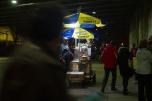 Pretzel vendor underneath the Brooklyn Bridge.
