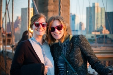 Alison and Jamie on the Brooklyn Bridge at sunset.