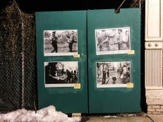 "Wheat-pasted images outside the Bronx Documentary Center from their current exhibit, ""Whose Streets? Our Streets!"""
