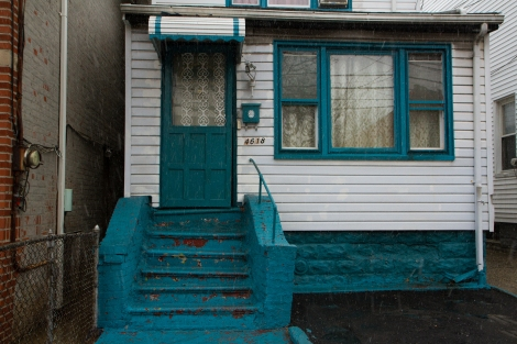 Blue front stoop in Flatbush, Brooklyn.